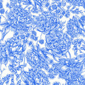 Blue Floral Seamless Pattern with Peonies in Vintage Style — Stock Vector