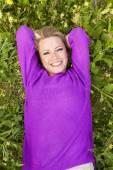Happy woman in flower field — Stock Photo