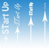 Start Up illustration with arrows — Stock Photo