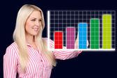 Business woman shows a graphic curve — ストック写真