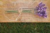 Lavender on wooden fable — Stock Photo