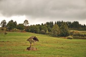 Old well on the field — Stock Photo