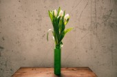 White tulips in green flask — Stock Photo