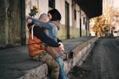 Young couple hugs — Stock Photo