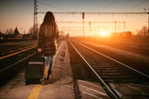 Traveler woman  with baggage — Foto de Stock