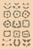 Symmetrical floral graphic design elements — Stock Vector
