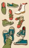Illustration uppsättning hipster tecknade skor — Stockvektor