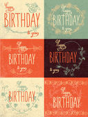 Set happy birthday hand lettering — Stock Vector
