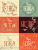 Set happy birthday hand lettering — Stock Vector