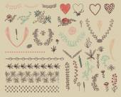 Set floral grafisch ontwerpelementen — Stockvector