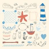 Set of cute retro sea objects — Vettoriale Stock
