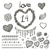 Love hand lettering and doodles elements sketch. — Stock Vector