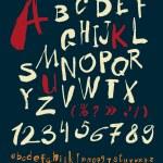 Handwritten alphabet and numbers — Stock Vector #62890973