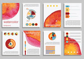 Set of Templates with Watercolor Paint — Stock Vector