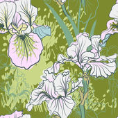 Decorative iris flowers in retro colors. — Stock Vector