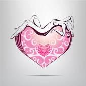 Heart symbol with girl inside. — Stock Vector
