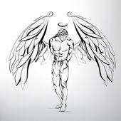 Man angel illustration — Stock Vector