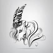 Head of  goat in  ornament. — Stok Vektör