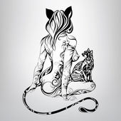 Silhouette of girl cat with  cat — ストックベクタ
