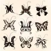 Butterflies silhouette set — Stock Vector
