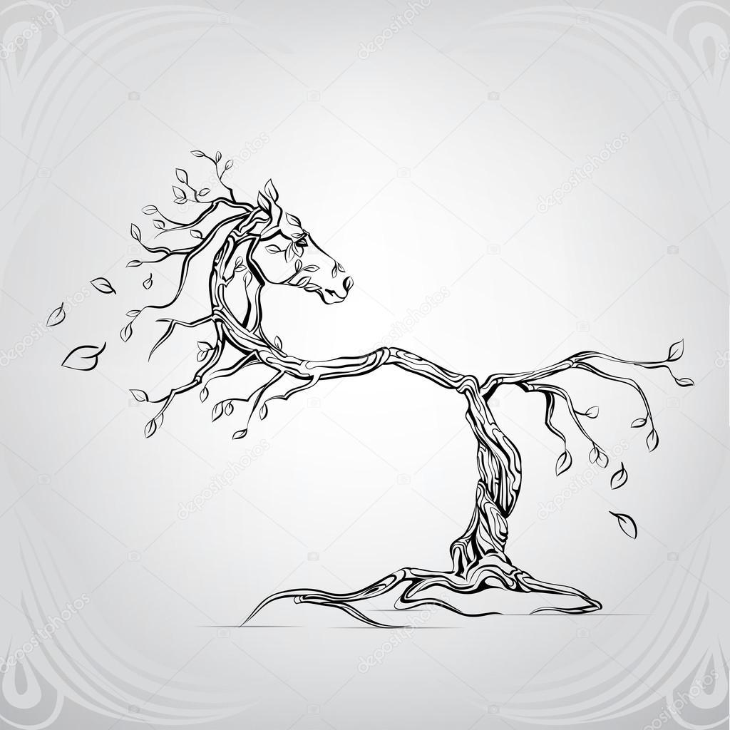 silhouette of horse from tree stock vector  u00a9 nutriaaa running horse silhouette vector horse jump silhouette vector