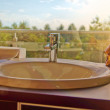 Bathroom sink with garden view — Stock Photo #51964889