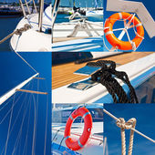 Collage of snapshots from marina — Stock Photo