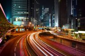 Hongkong financial district at night — Stock Photo