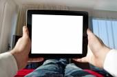Homem com tablet relaxante - foto do ponto de vista — Fotografia Stock