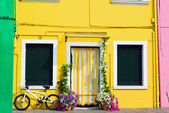 Colorful houses in Burano with a bike standing next to a flower  — ストック写真