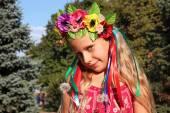 Little girl in wreath — Stock Photo