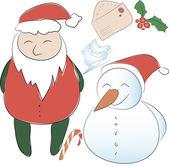 Conjunto de elementos para a decoração de Natal ou ano novo. Papai Noel — Vetor de Stock