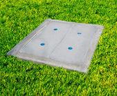 Concrete sewer manhole — Stockfoto