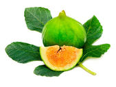 Ripe fig fruit with leaf — Stock Photo