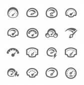 Iconos de velocímetro — Vector de stock