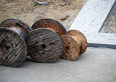 Wooden coils for cable — Stock Photo