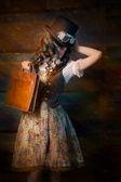 Steampunk Girl with Leather Portfolio Bag — Stock Photo