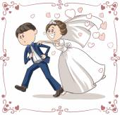 Running Groom Chased by Bride Funny Vector Cartoon — Wektor stockowy