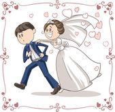 Running Groom Chased by Bride Funny Vector Cartoon — Vetorial Stock