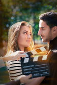 Cute Couple Ready for a Shoot — Stock Photo