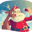 Santa Claus and Rudolph Taking a Photo Together — Stock Vector #55847601