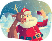 Santa Claus and Rudolph Taking a Photo Together — Stock Vector