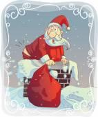 Overweight Santa Stuck in the Chimney — Stock Vector