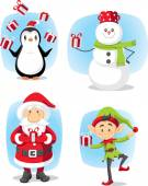 Christmas Characters Set Vector Cartoon — Stock Vector