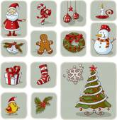 Vintage Christmas Graphic Elements Hand Drawn Vector — Stock Vector