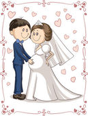 Pregnant Couple Wedding Invitation Vector Cartoon — Wektor stockowy