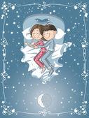 Cute Cartoon Couple Cuddles in Bed — Stock Vector
