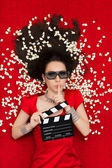 Girl with 3D Cinema Glasses,  Popcorn and Director Clapboard Asking for Silence — Stock Photo