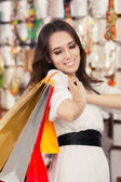 Happy Beautiful Woman Shopping — Stockfoto