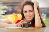 Happy Young Woman with Vintage Camera and Summer Dessert — Stock Photo